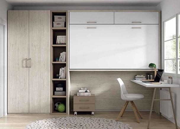 <p>Dormitorio juvenil, equipado con una litera abatible horizontal alta con altillos de puerta elevable y hueco libre inferior. ·El ambiente cuenta además con un armario de dos puertas, un escritorio y una librería alta.</p>
