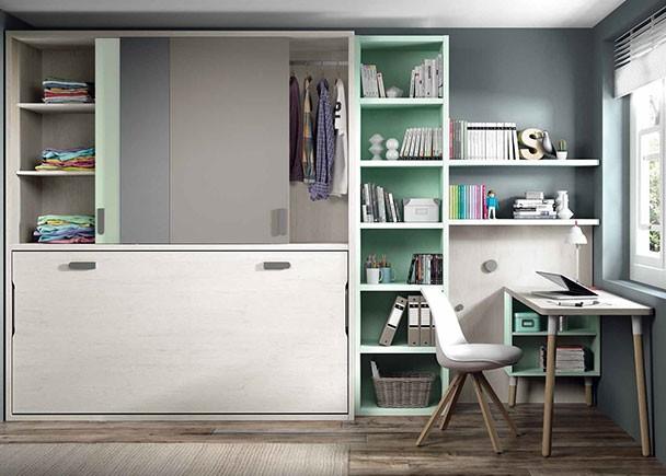 <p>Habitación juvenil con cama abatible horizontal de 90 x 190, y armario superior de puertas correderas.</p>