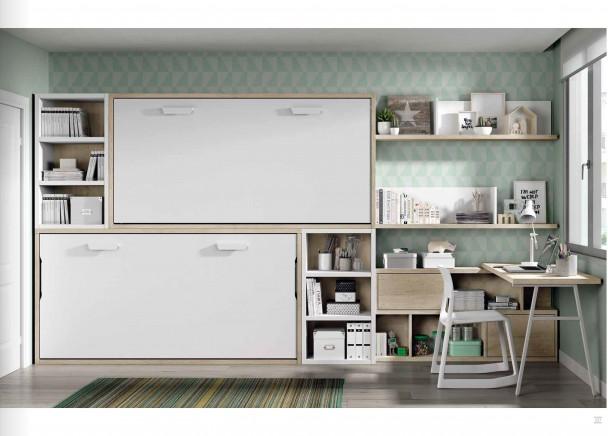 <p>Dormitorio juvenil con dos camas abatibles horizontales de 90 x 190, con librer&iacute;as laterales y zona de estudio en rinc&oacute;n.</p>