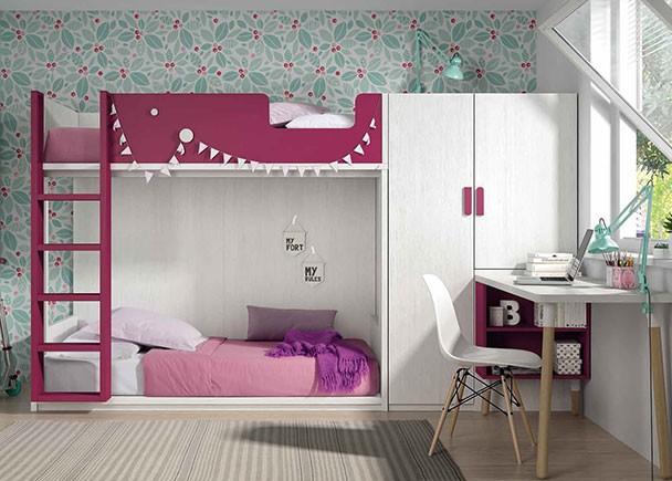 Habitación infantil con litera de dos camas de 90 x 190 con base de cajones y escritorio y armario de dos puertas.