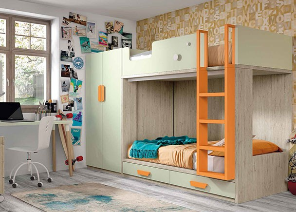 <p>Dormitorio infantil con litera de 2 camas de 90 x 190 con base de cajones, escritorio y armario de 2 puertas.</p>