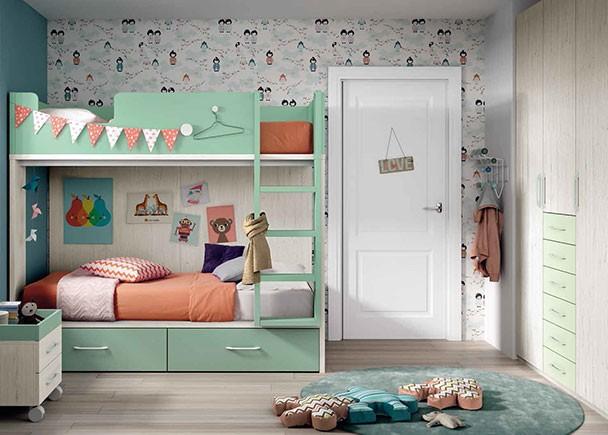 <p>Dormitorio infantil con litera para dos camas de 90 x 190 con cajones en la parte inferior y escalera integrada.</p>