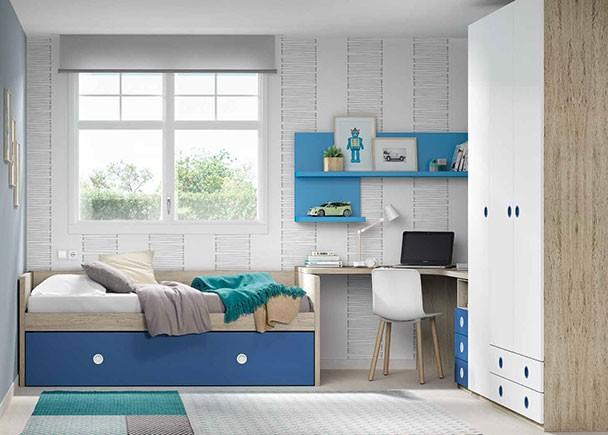 Habitación juvenil equipada con una cama nido baja con somier de arrastre. Seguidamente se encuentra la zona de estudio, para la que hemos escogido un es