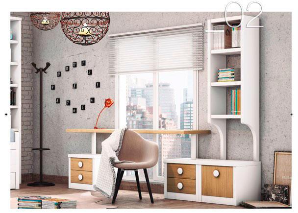 Zona estudio con escritorio de sobre recto de 60 cm de fondo, que apoya sobre módulos bajos. La librería tiene forma de arco en la parte inferior.