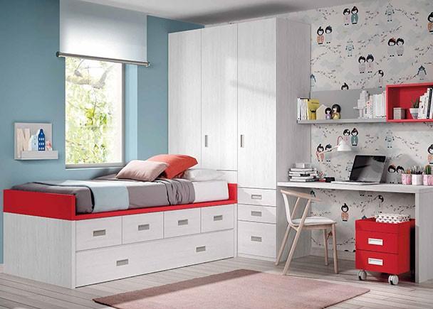 <p>Dormitorio infantil con compacto nido de 4 cajones con somier de arrastre. En la cabecera de la cama se sitúa la zona de armarios, compuesta por un armario arcón y otro con cajones vistos. El escritorio es un cómodo sobre recto de 147 x 58,2 cm de fondo.</p>