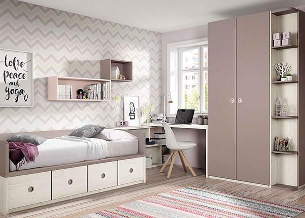 habitación juvenil equipada con un armario recto con terminal estantería. La cama es un compacto bajo con 4 contenedores y la zona de estudio esta