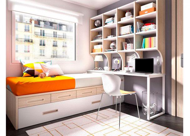<p>DormitorioJuvenil equipado a base de elementos modulares y apilables. Dispone de cama nido + cajones apilables + Escritorio + Librería.</p>