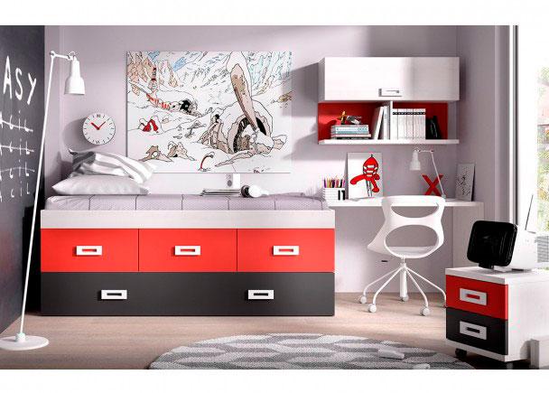 <p>Habitaci&oacute;n Juvenil con compacto de 3 cajones y cama nido + escritorio recto de 120 cm.</p>