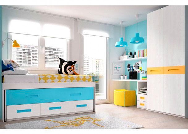 <p>DormitorioJuvenil con compacto de 3 contenedores y deslizante. Cuenta con un armario de 90 cm y un escritorio recto de 120 con cajonera inferior.</p>
