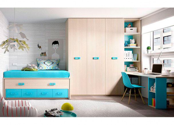 <p>Habitación Juvenil equipada con compacto de 4 cajones con deslizante + Armario de 3 cuerpos y escritorio de 202 cm.</p>