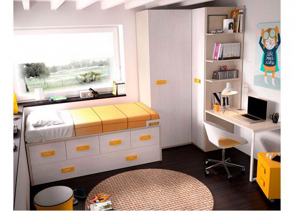 Habitación Juvenil equipada a base de elementos modulares y apilables.Los elementos que integran la presente composición son los siguientes: