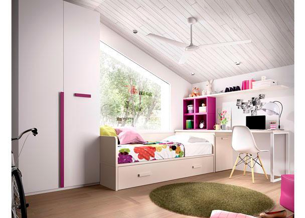 DormitorioJuvenilequipado con cama nido + arcón de puerta extraíble + escritorio y armario recto de 1 metro.Los elementos que integran