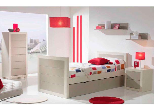 <p>Dormitorio juvenil de estilo colonial con cama nido para somier de 90 x 190. La cama dispone de dos prácticos baúles contenedores en su base.</p>
