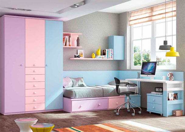 <p>Dormitorio Infantil de linea modular con escritorio recto de 151 cm y armario de 3 puertas con sinfonier central de 6 cajones vistos.</p>