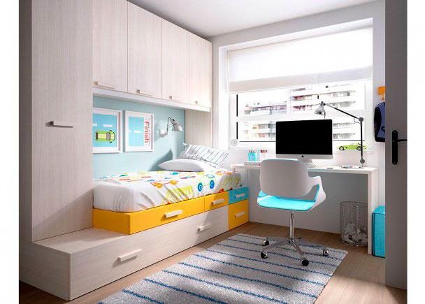 <p>DormitorioJuvenil equipado a base de elementos modulares y apilables. Dispone de cama nido, Armario apilable, cajones, altillo de 4 puertas y escritorio.</p>