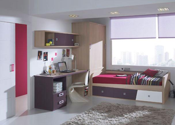 Habitación Infantil con armario de puertas correderas, compacto de 3 cajones, mesa de estudio y altillo.