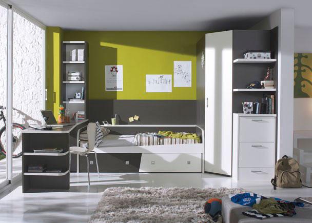 Habitación infantil con armario rincón de 219 cm. de altura con altillo, barra de colgar y estantería interior
