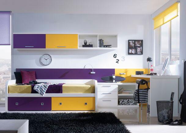 <p>Habitaci&oacute;n con cama nido y mesa de estudio. El panel trasero y la combinaci&oacute;n de colores le dan un toque original a esta composici&oacute;n</p>