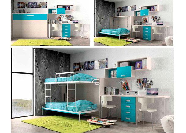 Dormitorio juvenil con litera abatible horizontal para dos camas de 90 x 190, con zona estudio y composición mural.