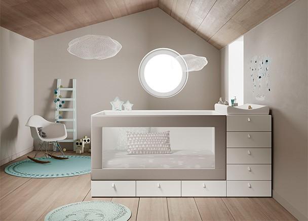 <p>Dormitorio infantil con cuna modular, convertible en camita de transición y después en cama adulta para colchón de 90 x 190. La barandilla es textil y su diseño contempla un uso para 3 etapas de edad.</p>