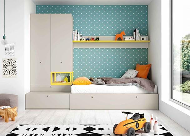 <p>Dormitorio juvenil equipado con elementos modulares base y apilables, entre los que destacan el armario de puertas asim&eacute;tricas y la cama con arrastre nido.</p>