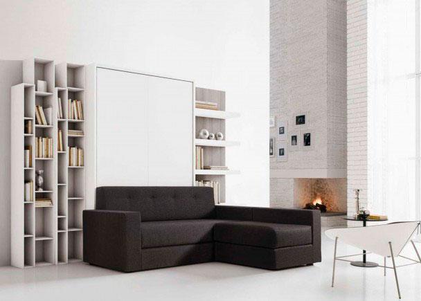 <p>Mueble de salón con dos librerías + cama abatible vertical de matrimonio + sofá con Chaisse-Longue.</p>