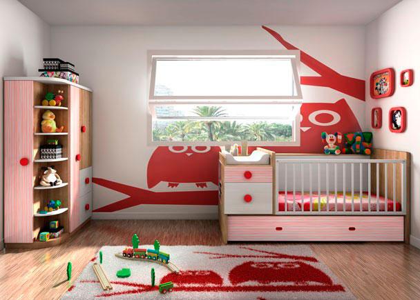 Dormitorio infantil con cuna convertible con arrastre inferior para colchón de 90 x 180.