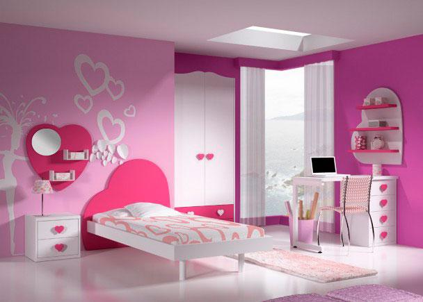<p>Romantica habitaci&oacute;n infantil pensada para hacer felices a todas las ni&ntilde;as.<br /><br />La cama es un sencillo dise&ntilde;o de ba&ntilde;era recta en blanco, con un vistoso cabecero con dise&ntilde;o de coraz&oacute;n.<br />La zona de estudio la compone un m&oacute;dulo bajo de 4 cajones de 45 cm de ancho, sobre el que descansa una encimera recta &nbsp;120 x 50 F&nbsp;<br />El soporte exterior, lo ofrece una pata met&aacute;lica de forma abierta.<br />Sobre la pared de la mesa de estudio, hemos colgado una estanter&iacute;a de 3 baldas, con trasera dise&ntilde;ada a modo de coraz&oacute;n.<br />El armario de 2 puertas, mide 205 de altura, y corona su parte alta con una curva de l&iacute;nea tirolesa. Cuenta adem&aacute;s con dos cajones vistos.<br /><br />El conjunto se ha completado con un espejo modelo coraz&oacute;n con estantes y un m&oacute;dulo bajo de 2 cajones, de 45 cm de ancho situado junto a la cama.<br />&nbsp;</p>