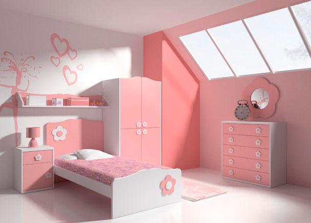 <p>Este romantico y luminoso dormitorio infantil, ha sido decorado para ser el sueño de cualquier niña.Los muebles parecen haber salido de un cuento, tanto por el color como por el diseño de todos sus detalles.Cuenta con un mueble cómoda de 5 cajones de 95 x 90 x 45 F, sobre el que hemos colgado un espejo con forma de margarita.El armario, tiene 4 puertas y una suavizada forma tirolesa en la parte alta. Mide solo 172 hEl cabecero y piecero de la cama, siguen la misma linea del armario, cabecero en rosa palo y piecera en blanco (cama para somier de 90 x 190)Los detalles de terminación elegidos, han sido una estantería de pared de 160 de ancho y una mesilla de 1 cajón + puerta de apertura izquierda de 45 cm de ancho</p>