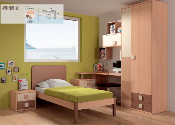 <p>La cama es un modelo de cabecero liso y somier plano, con patas de madera, para somier de 90 x 190 cm.</p>