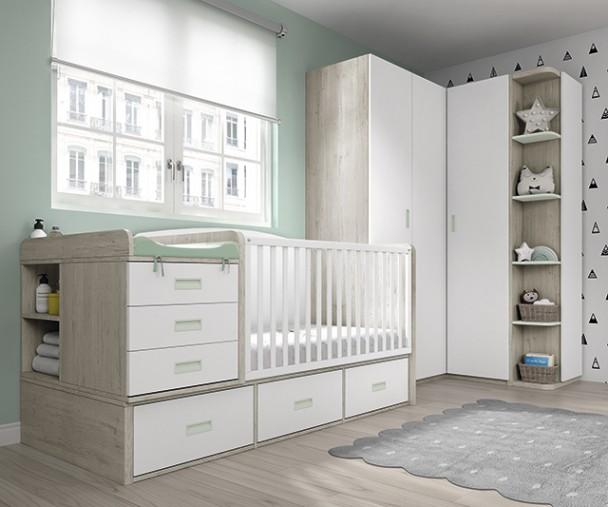 Habitación de bebé con cuna convertible de 130x80 cm, convertible en una cama adulta de 190x90. El ambiente se completa además con un armar
