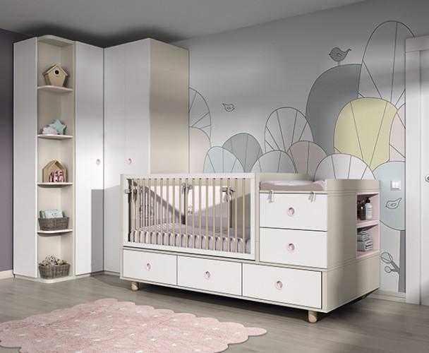 <p>Habitación de bebé con cuna convertible para colchón de 140 x 70. Se transforma primero en una camita de primera etapa para colchón de 70 x 140 y después, en una cama adulta de 190 x 90.</p>