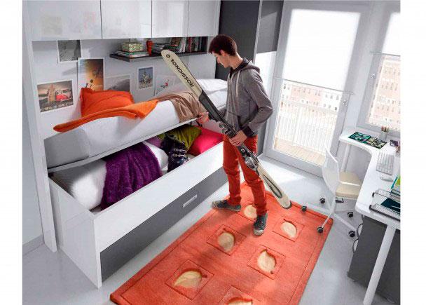 Dormitorio infantil equipado con los siguientes elementos:-Ropero Ciego barras extraíble de 100 cm-Puente traserade 205 cm x 42 de fondo x 65