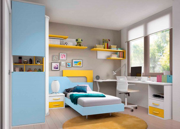 <p>Novedoso dormitorio juvenil equipado con armario terminal vitrina que además dispone de un mueble zapatero en uno de los costados y gran zona de estudio</p>