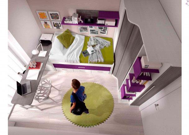 <p>Dormitorio juvenil con Cama Compacta, Armario de rincón con Mueble terminal con cubos y Zapatero.</p>