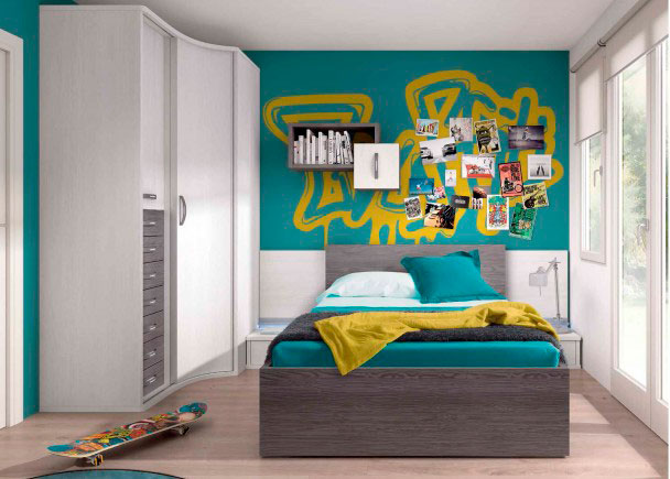<p><strong>Dormitorio juvenil</strong> de linea <strong>vanguardista</strong>, tanto por su concepto como por los sistemas empleados.</p>