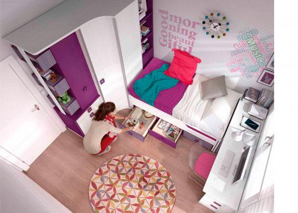 Habitación juvenil completamente equipada con un amplio armario rincón de puertas correderas con complemento de cubos en el costado terminal.La ca