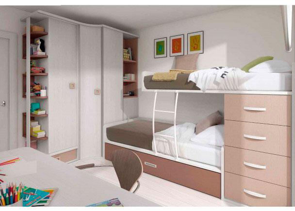 <p>Habitación infantil de dos camas, completamente amueblada con armario rincón de 235 de altura x 190 x 85</p>