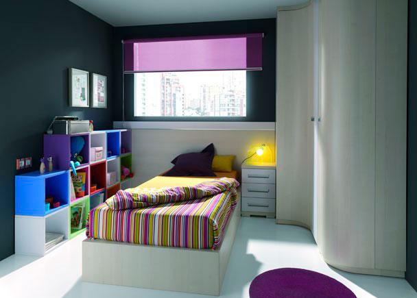 Dormitorio Juvenil equipado con los siguientes elementos:-Armario Terminal Derecho con una puerta curva (36 de ancho x 241 de altura x 57 F)-Armario rinc&oacute