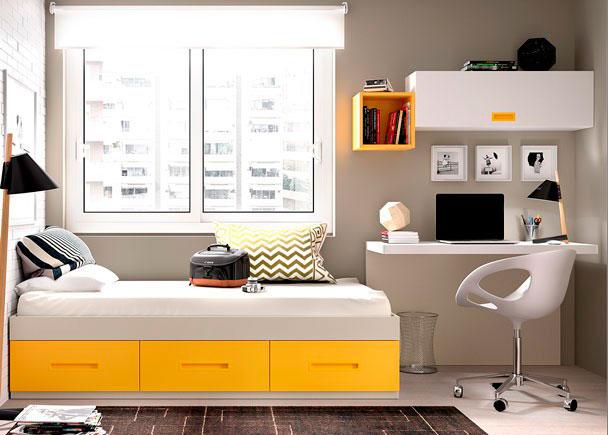 <p>Habitación equipada a base de elementos modulares y apilables.Dispone de una cama nido con base de 3 cajones contenedores + Escritorio modelo SMALL</p>