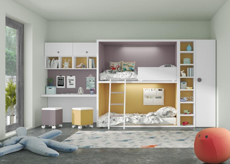 <p>Este ambiente corresponde a un dormitorio infantil&nbsp; equipado con una&nbsp; litera a ras de suelo completamente personalizable. Las literas Rubbik de Tetris</p>
