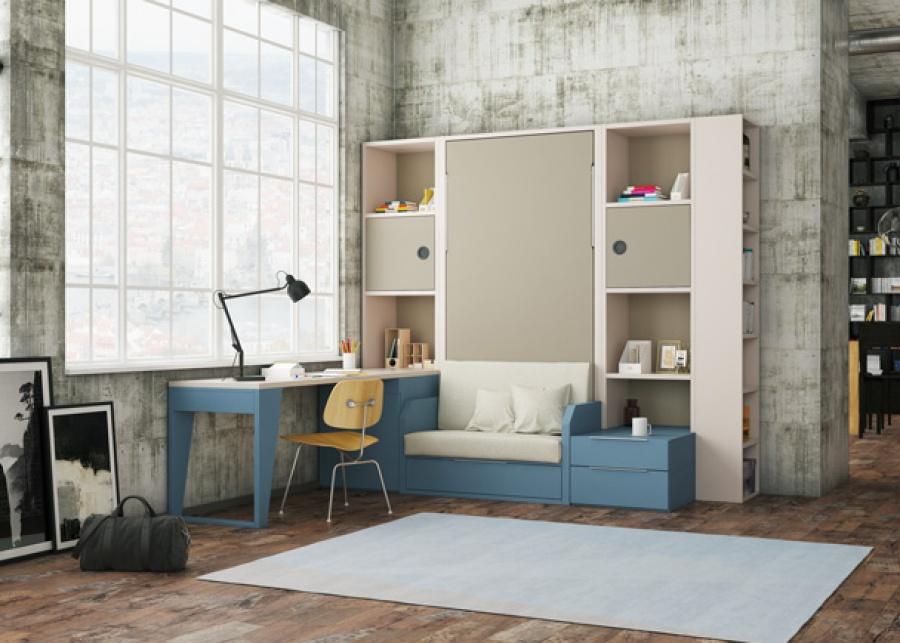 Habitación para chicos jóvenes, equipada con una cama abatible vertical con sofá individual integrado,perteneciente a la serie VERSAT