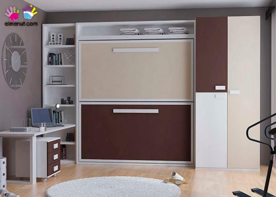 <p>Litera abatible horizontal para colchones de 90 x 190 con armario de 100 de puertas combinadas y zona estudio.</p>