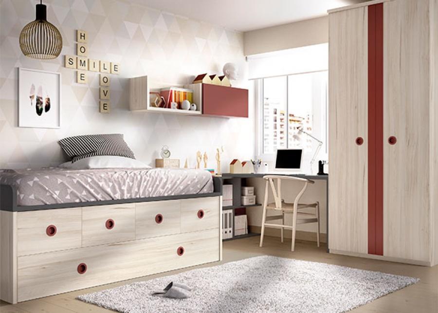 <p>Habitaci&oacute;n infantil con compacto nido con cajones + armario recto de dos puertas y zona de estudio.</p>