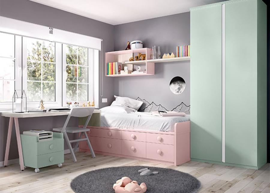 <p>Habitaci&oacute;n infantil equipada con un compacto de cama fija + cajones y completado con armario y zona de estudio.</p>