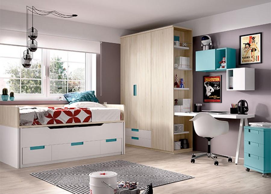 <p>compacto con brazos de dos camas; una cama superior fija + una deslizante con base de 2 contenedores + 1 ba&uacute;l central + armario y terminal zapatero.</p>
