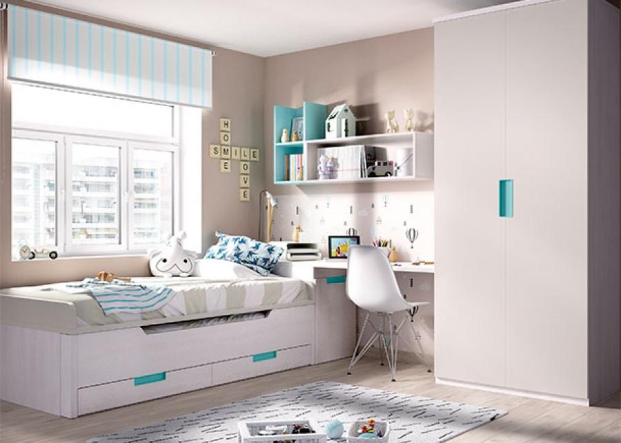 <p>Dormitorio juvenil con compacto con deslizante, armario y zona de estudio.</p>