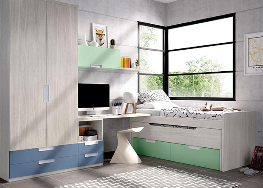 <p>Habitaci&oacute;n infantil con compacto con deslizante y cajones + armario recto de 2 puertas + 2 cajones vistos.</p>