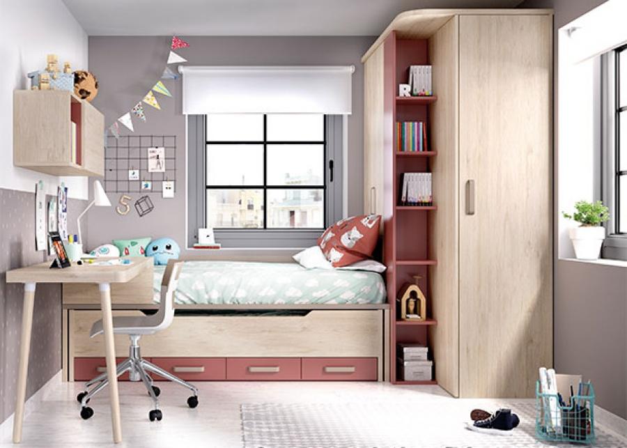 <p>Dormitorio juvenil con compacto bajo con deslizante, escritorio y armario mutifunción con arcón de 90 cm de altura</p>