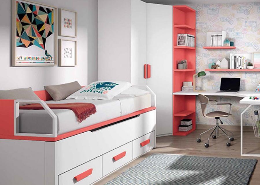 <p>Dormitorio infantil equipado con un compacto bicama (ambas de 90 x 190) , un armario rinc&oacute;n con terminal y una zona de estudio con escritorio angular y estantes decorativos como complemento mural.</p>